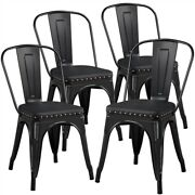 4pcs Metal Dining Chairs Stackable Vintage Riveted Decoration Soft Kitchen Chair