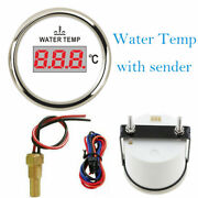 2-1/16 Water Temp Gauge With Sender 40-120c For Cars Boats Trucks Red Led White