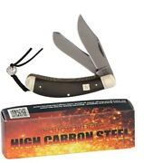 Bow Trapper Pocket Knife Carbon Steel Blade Black Handle With Lanyard Hole