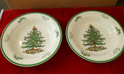 Spode Christmas Tree 12 Rimmed Pasta Bowls - Set Of 2 - New - Made In England
