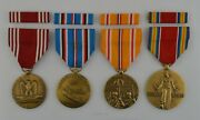 4 Wwii Army Medals And Ribbon Bars Pacific Service - World War Two Ww2- Full Size
