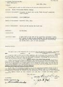 Wizard Of Oz Cowardly Lion Bert Lahr Original Signed 1944 Contract Club Raleigh