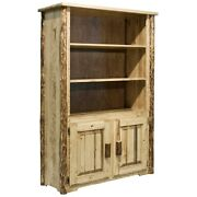 Rustic Log Bookcase Amish Made Book Shelf Of Solid Pine Doors Varnished
