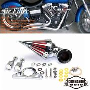 For Harley Softail Dyna Touring Chrome Spike Cone Air Cleaner Intake Filter Kits