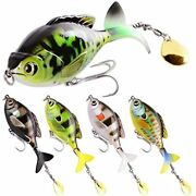 Gufiky Whopper Popper 5-pack Fishing Lures Combo 5.13 Inch/0.56 Oz With Rotating