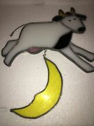 """Stained Glass Vintage Large Rare Cow Jumping Over The Moon Sun Catcher 11""""x 8"""""""