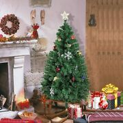 5and039 / 6and039 Artificial Pre-lit Christmas Tree Home Xmas Pine W/ Ornaments Led Light