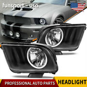For 2005-2009 Ford Mustang Black Housing Clear Lens Halo Headlights Lamps Pair