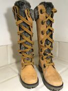 Mirney Faux Fur Lace Up 91335 Knee High Wheat Women Boots 6m Sexy
