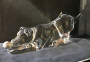 New In Box Steuben Glass Playful Pup With Silver Ball Rare Dog Crystal Animalandnbsp