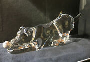 New In Box Steuben Glass Playful Pup With Silver Ball Rare Dog Crystal Animal