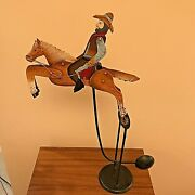 Amazing Vintage Metal Toy - Cowboy Riding His Horse - 20 High