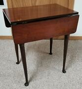 Re-finished Vintage Antique Drop Leaf Side End Table With Cabriole Legs