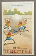 Brownies Out On Second 1890's Victorian Advertising Trade Card Baseball Flour