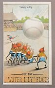 Brownies Taking A Fly 1890's Victorian Advertising Trade Card Baseball Flour