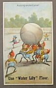 Brownies Putting On The Curve 1890's Victorian Ad Trade Card Baseball Flour