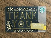 Starbucks Gift Card 2017 Thank You Gold Black Leaf Cup Cheer Holiday No Value