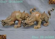 15 Chinese Dynasty Bronze Ware Guard Wing Brave Troops Pixiu Beast Statue Pair