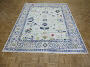 8 X 10and0399 Hand Knotted Ivory And Purple Modern Oushak Oriental Rug G10079