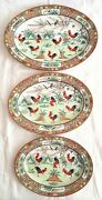 Vintage Set 3 Chinese Rooster Pattern Oval Tray Plate Sizes 40,5cm 35,5cm 31,5cm