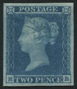 Sg14 2d Blue Rb Plate 3 A Lovely 4 Margin Example With Large Part Original Gum
