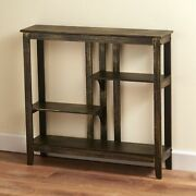 Distressed Finish Console Table - Narrow Hallway Table With Display Shelves