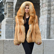Women Real Red Fox Fur Hooded Overcoat Winter Natural Fur Warm Coats Whole Skin