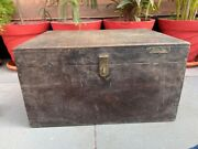 1800's Ancient Hand Crfated Wooden Big Merchant Trunk Coin Box With Brass Lock