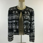 Adrianna Papell Evening Jacket Beaded Sequins Single Hook Black Silver Womens M