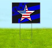 American Flag Star 18x24 Yard Sign With Stake Corrugated Bandit