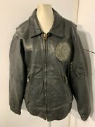 Vintage 80and039s German Leather Motorcycle Flight Jacket Size Xl