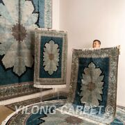 Yilong Handmade Sik Blue Rug All Size Available Home Decor Luxury Carpet