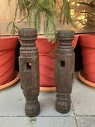 1800andrsquos Antique Old Wooden Hand Carved Bed Leg Made Candle Stand Pair