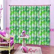 Fresh Green Bamboo Printing 3d Blockout Curtains Fabric Window Home Decor