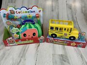 Lot Of 2 Toys Cocomelon Musical Yellow School Bus And Musical Doctor Checkup Set
