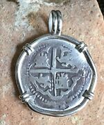 Pirate Coin Treasure Piece Of Eight Hand-struck Authentic 1r Set Ss Pendant Cob