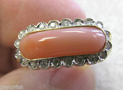Estate Angel Coral And Diamond Ring 14k Gold Size 7-1/2 Gorgeous  Make Offer
