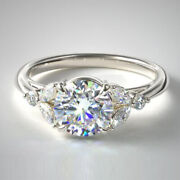 Round 0.80 Ct Real Diamond Engagement Ring For Women 14k White Gold Size 6 7 8 9