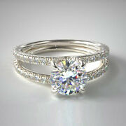 1.50 Ct Round Real Diamond Engagement Ring For Women 14k White Gold Size 5 6 7 8