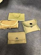 Lot Of 4 Vintage Vinyl And Cloth Army Military Sewing Kits Wwii