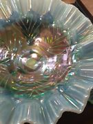 Fenton Ice Blue Console Set Opalescent Teal Carnival Glass Bowl Candle...