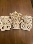 """Antique Staffordshire Set Of 3 Spill Vases-2 Are 7"""" Tall-tallest Is 9"""""""