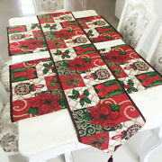 Cotton-polyester Blend Table Runner And 4pcs Placemats For Christmas Decorations