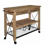 2 Drawer Wooden Bar Cart With 2 Shelves And Casters Support Brown And Black