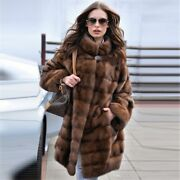 Women Winter Fashion Brown Real Mink Fur Coat Natural Jacket With Stand Collar