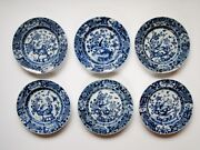 6 Antique Chinese Porcelain Qing Long Ch' Ien Lung Blue And White Dishes...