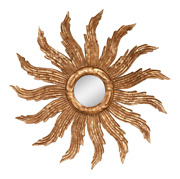 Vintage French Baroque Style Gilt Wood Carved Sunburst Wall Mirror