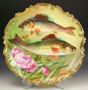 Limoges France Hand Painted Fishes And Flower 13.25 Charger Plaque