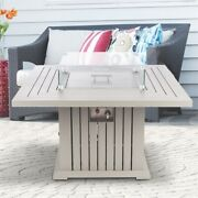 Ev Fires 43 Aluminum Propane Gas Fire Pit Table - Gray/silver Clips Wind Guard