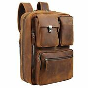 Tiding Leather 15.6 Inch Laptop Backpack Convertible Briefcases Messenger Bag...